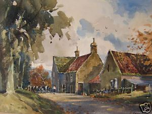J.Barrie Haste - Grewelthorpe Farm - Watercolour - SOLD